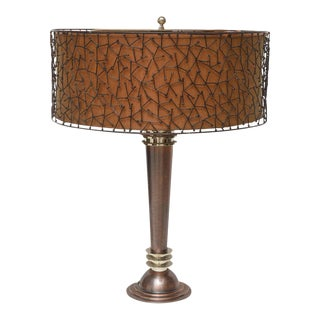 American Art Deco, Copper and Steel Lamp Attributed to Donald Deskey For Sale