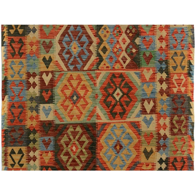 Primitive Arya Carmen Blue/Gold Wool Kilim Rug - 4'11 X 6'8 For Sale - Image 3 of 7