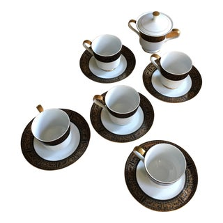 Set of Black and Gold Rimmed Mimosa Fine China of Japan - Ravenswood For Sale