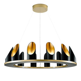 Custom Crown Chandelier in Satin Black With Gold Accents For Sale