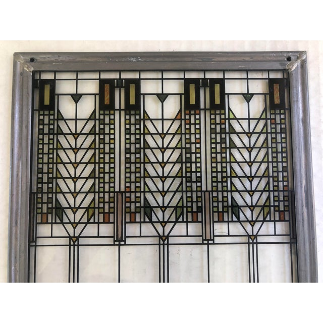 Late 20th Century Frank Lloyd Wright Inspired Stained Glass Panel For Sale - Image 5 of 8