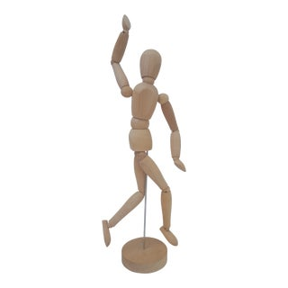 Figural Moveable Wooden Man on Pedestal For Sale