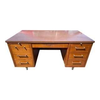 Vintage Mid Century Wooden Alma Desks Co Tanker Desk For Sale