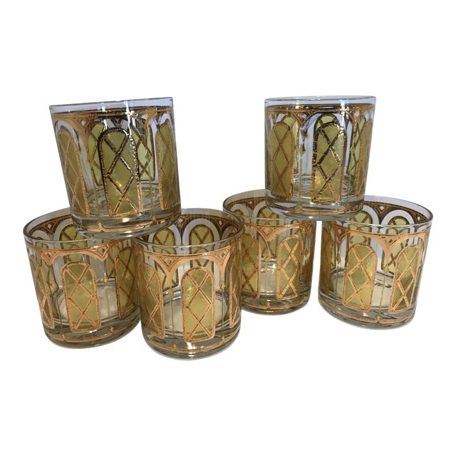 Mid-Century Yellow & Gold Double Old Fashion Glasses - Set of 6 For Sale