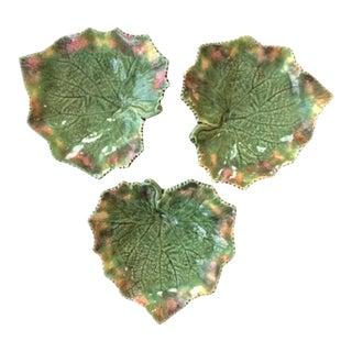 Bordallo Pinheiro Majolica Grape Leaf Bowls - Set of 3 For Sale