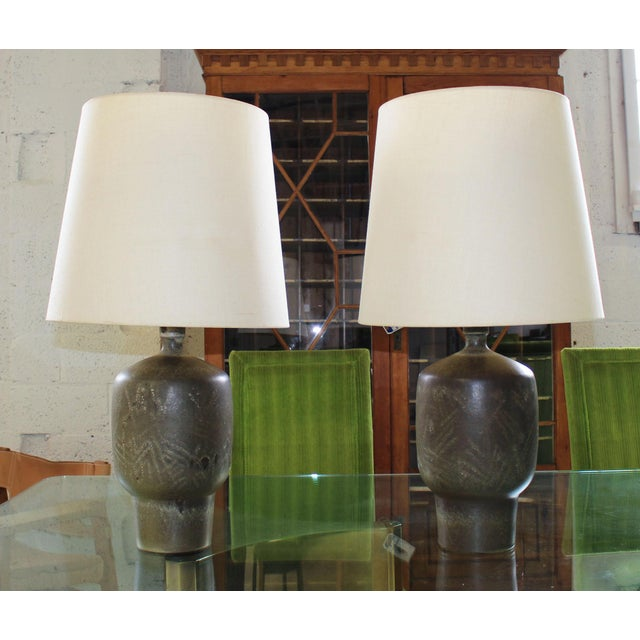 Green Large Pair of Design Technics Table Lamps by Lee Rosen For Sale - Image 8 of 8