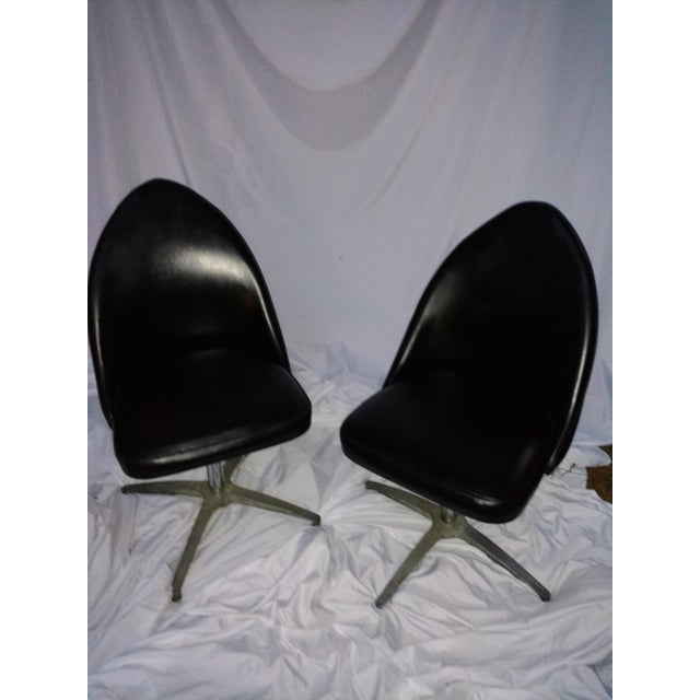 Vintage Black Vinyl Swivel Chairs - A Pair - Image 2 of 8