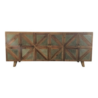 Industrial Modern Wood and Zinc Sideboard For Sale