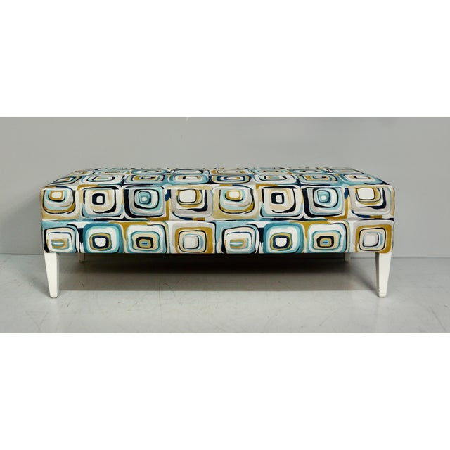 Wood Abstract Blue & Tan Upholstered Bench For Sale - Image 7 of 7