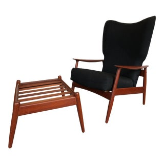 1960s Danish Modern Reclining Lounge Chair and Ottoman - 2 Pieces For Sale