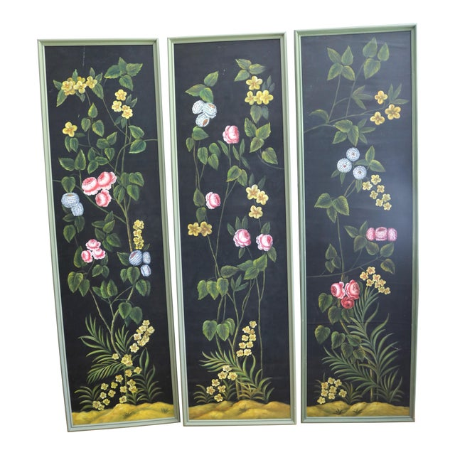 Hand Painted Screen Panels Oil on Canvas Floral Still Life - Set of 3 For Sale