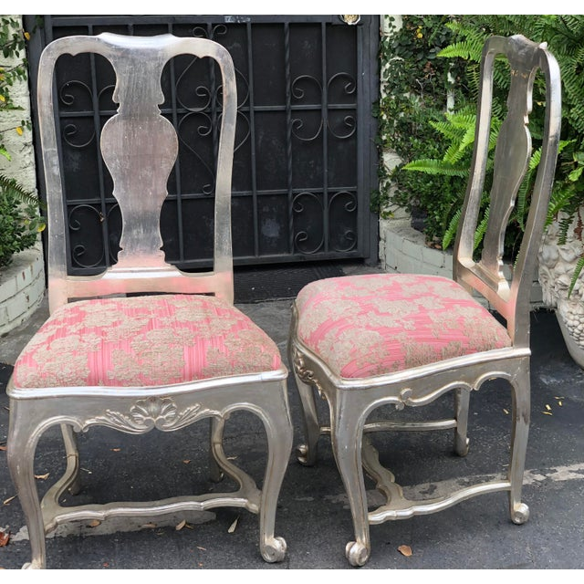 Traditional Antique George III Silverleaf & Pink Velvet Side Chairs - a Pair For Sale - Image 3 of 5