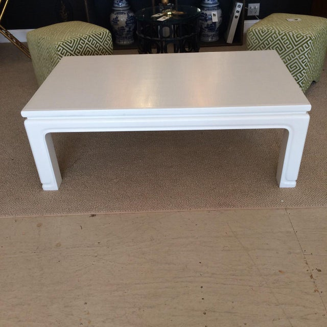 1970s Karl Springer Style Linen Wrapped Coffee Table For Sale - Image 5 of 5