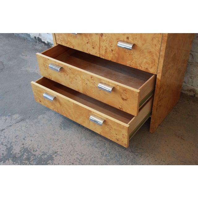 Leon Rosen for Pace Burled Olive Wood and Chrome Wardrobe Dresser - Image 9 of 13