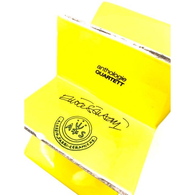 "1988 ""Ceramiche Pop"" Serie Edition ""Anthologie Quartett"" Alessio Sarri Ceramiche Yellow ""Hsing"" Vase by Ettore Sottsass For Sale - Image 10 of 13"