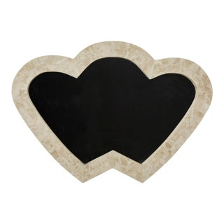 1990s Vintage Postmodern Double Heart Beige Tessellated Stone Mirror For Sale