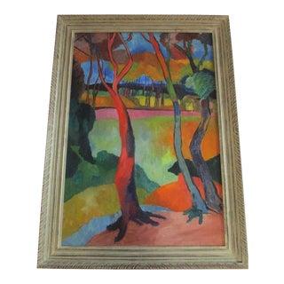 Antique Wpa Painting Fauve Icon Modernism Expressionism 1940's Landscape Vintage For Sale