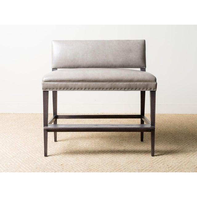 Upholstered double bar bench Fabric: Noble Fog - 100% Leather Back Fabric: Stitch Smoke - 99% Acrylic, 1% Polyester Oak...
