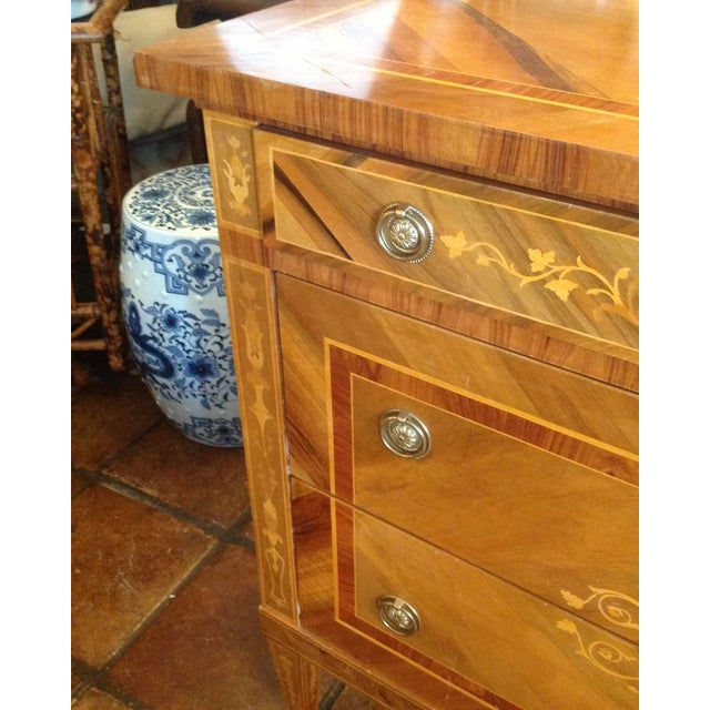 Metal 1960s Inlaid Italian Neoclassic Commode For Sale - Image 7 of 13