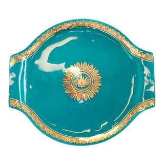 1960s Mid-Century Modern Georges Briard Signed Turquoise and Gold Glass Serving Tray
