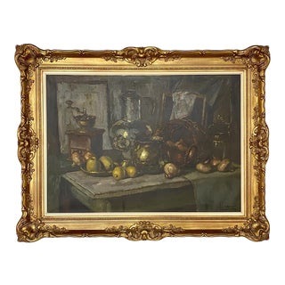 Antique Framed Oil Painting on Canvas by Jules De Corte For Sale