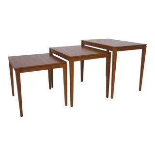 Danish Teak Wood Nesting Tables by Bent Silberg Mobler - set of 3 For Sale