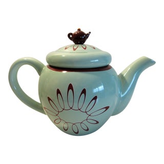 "Gorham Tea Pot ""Polly Put the Kettle On"" Merry Go Round Aqua Green For Sale"