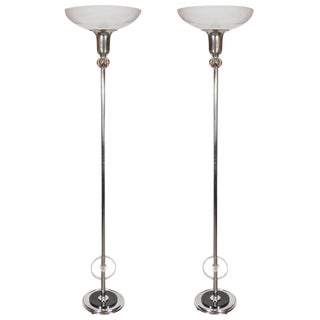 Pair of Art Deco Machine Age Floor Lamps in Chrome, Glass and Black Enamel
