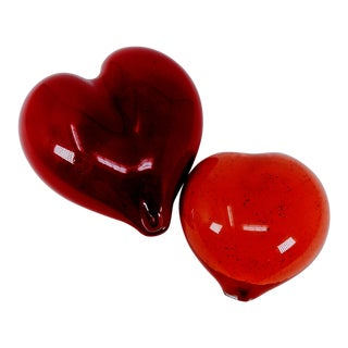 Vintage Ruby and Tomato Red Heart Paperweight Colors - a Pair For Sale