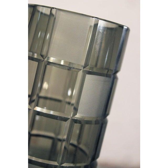 Smoke Grey Glass Vase, Orrefor Legend Square Style - Image 6 of 10