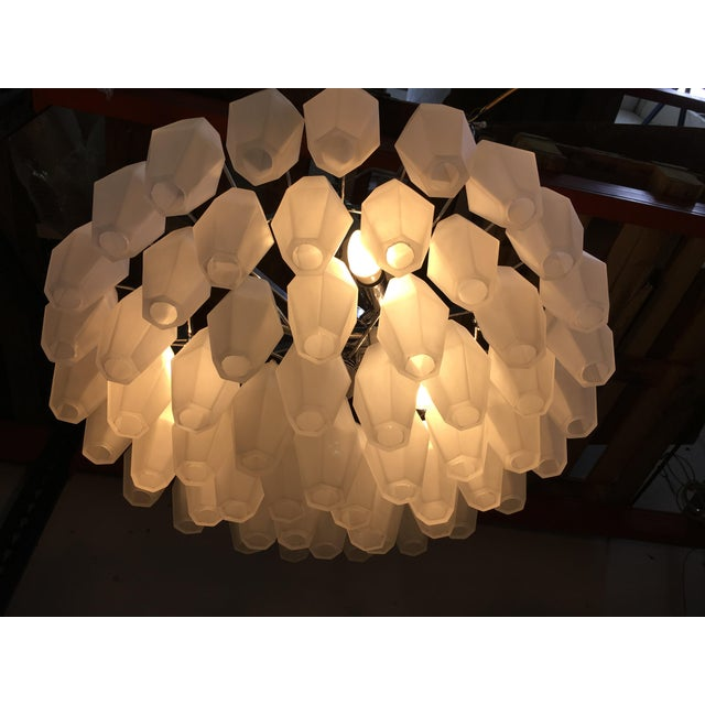 Murano Chandelier Murano Glass Poliedro White Sand Kromo Metal Frame For Sale - Image 4 of 13