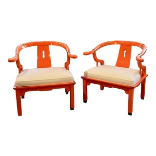 Mid 20th Century Orange Lacquer Ming Chairs - a Pair For Sale
