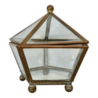 Vintage Brass and Glass Pentagon Lidded Box For Sale