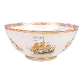 "Oriental Boat Motif Decorative Porcelain Bowl 10"" For Sale"