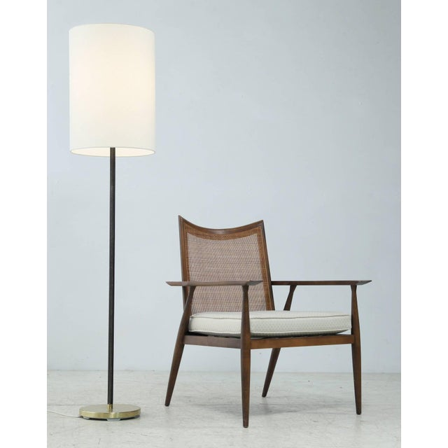 J.T. Kalmar Pair of Minimal Floor Lamps with Leather Stem and Long Shade, Kalmar, Austria For Sale - Image 4 of 6