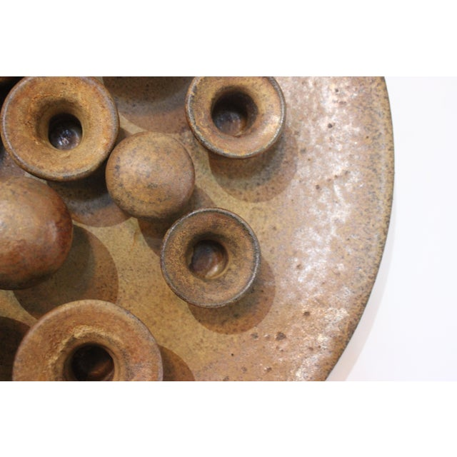 Mid 20th Century Earthenware Round Motif Wall Signed Sculpture Midcentury Italy For Sale - Image 5 of 11