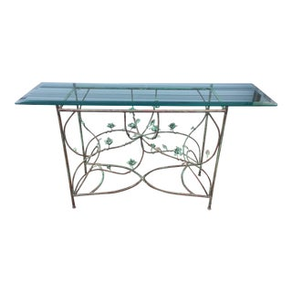Contemporary Copper Glass Top Console Table For Sale