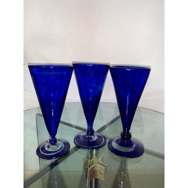 Late 20th Century Vintage Cobalt Blue Shrub Glasses - Set of 10 For Sale - Image 5 of 11