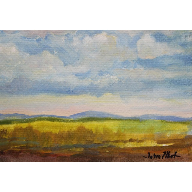 """1990s Impressionist Small Oil Painting on Canvas Board """"Hudson Valley Skies"""" by Listed Artist John Elliot For Sale - Image 5 of 12"""
