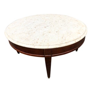 1960s Mid-Century Marble Top Round Coffee Table For Sale