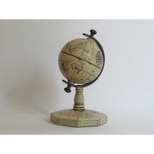 Faux Ivory Carved Resin Desk Globe - Image 4 of 5