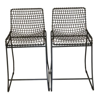 Crate & Barrel Tig Counter Stools - a Pair For Sale