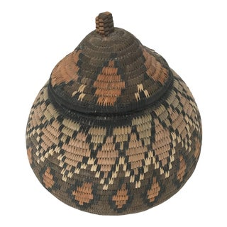 1970s African Zulu Lidded Basket For Sale