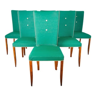 Vintage Set of 6 French Art Deco Dining Chairs W/ Turquoise Vinyl Upholstery For Sale