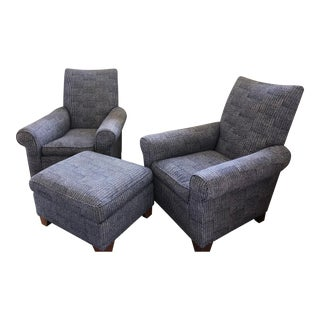 John Robshaw Aleppo Fabric Armchairs and Ottoman- 3 Pieces For Sale