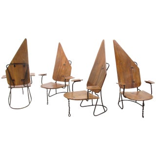 1960s Wrought Iron Metal Frame Chairs - Set of 4