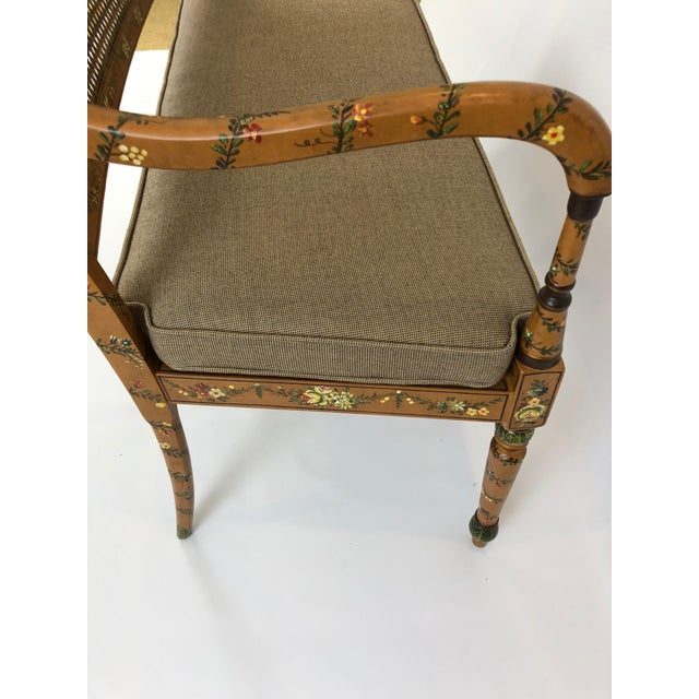 Venetian Style Caned and Hand Painted Loveseat Settee For Sale In Philadelphia - Image 6 of 13