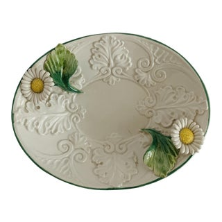 Vintage Italian Majolica Daisy Flowers Oval Dish For Sale