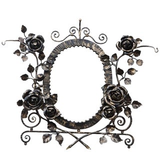 French Art Deco Wrought Iron Floral Wall Mirror For Sale