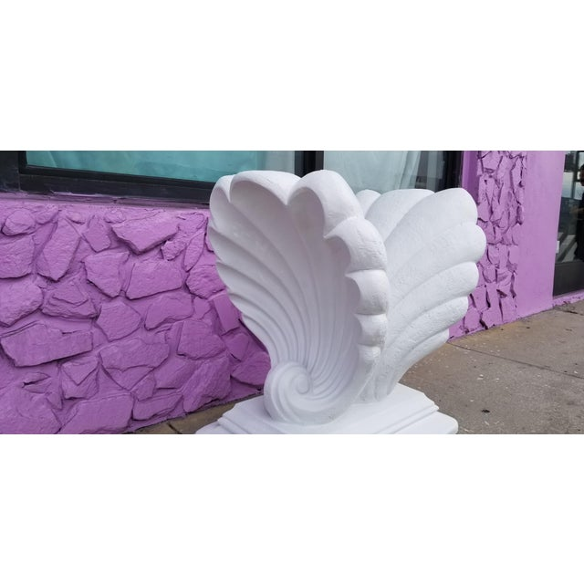 For your consideration, we are presenting for sale this Stunning Hollywood Regency white cast plaster scallop shell...